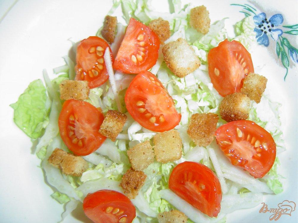 салат из пекинской с курицей и сухариками рецепт