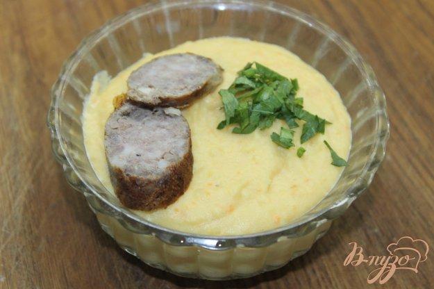 фото рецепта: Суп - пюре с гороха с домашней колбаской