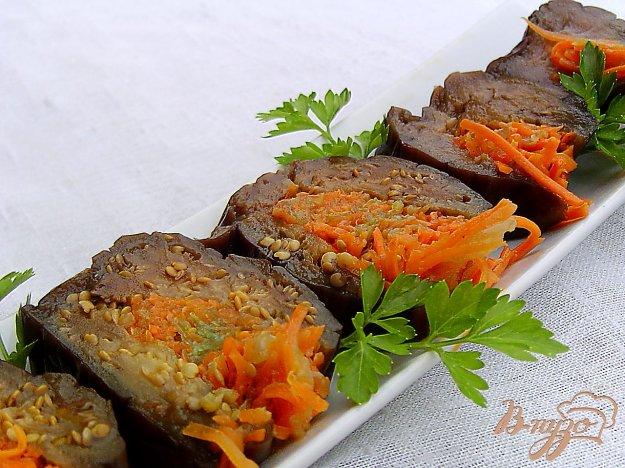 фото рецепта: Квашеные баклажаны с морковью,чесноком и луком