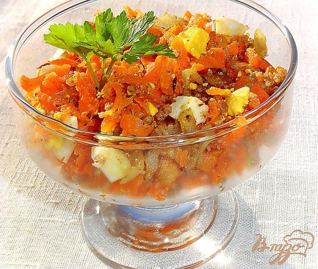 фото рецепта: Морковный салат с яйцами,луком и орехами
