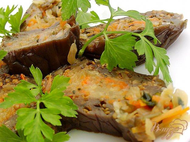 фото рецепта: Баклажаны квашеные, фаршированные капустой и морковью