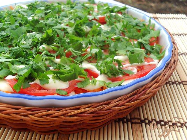 фото рецепта: Слоеный салат из баклажанов, моркови и помидоров