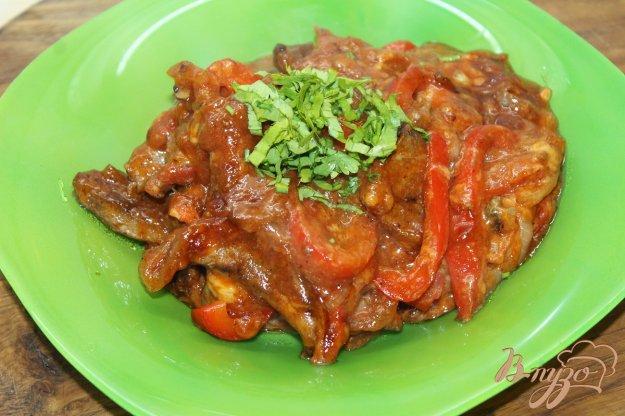 фото рецепта: Свиная печень тушенная с помидорами и перцем болгарским