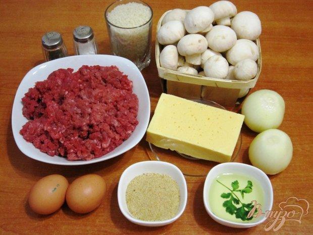 Рецепт Гратен с рисом, грибами и мясным фаршем