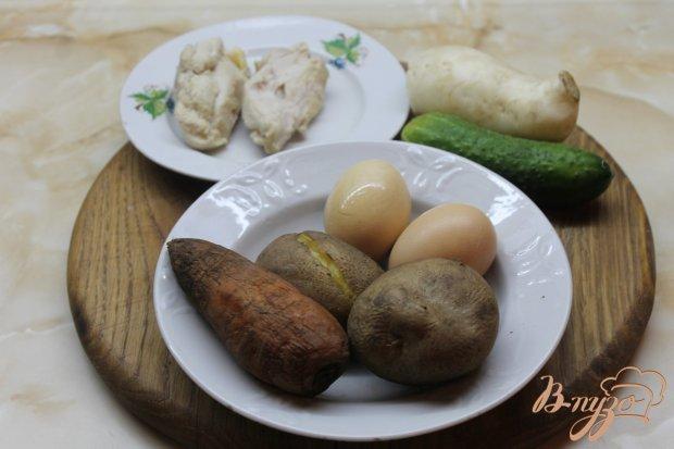Рецепт Окрошка с курицей и белой редькой