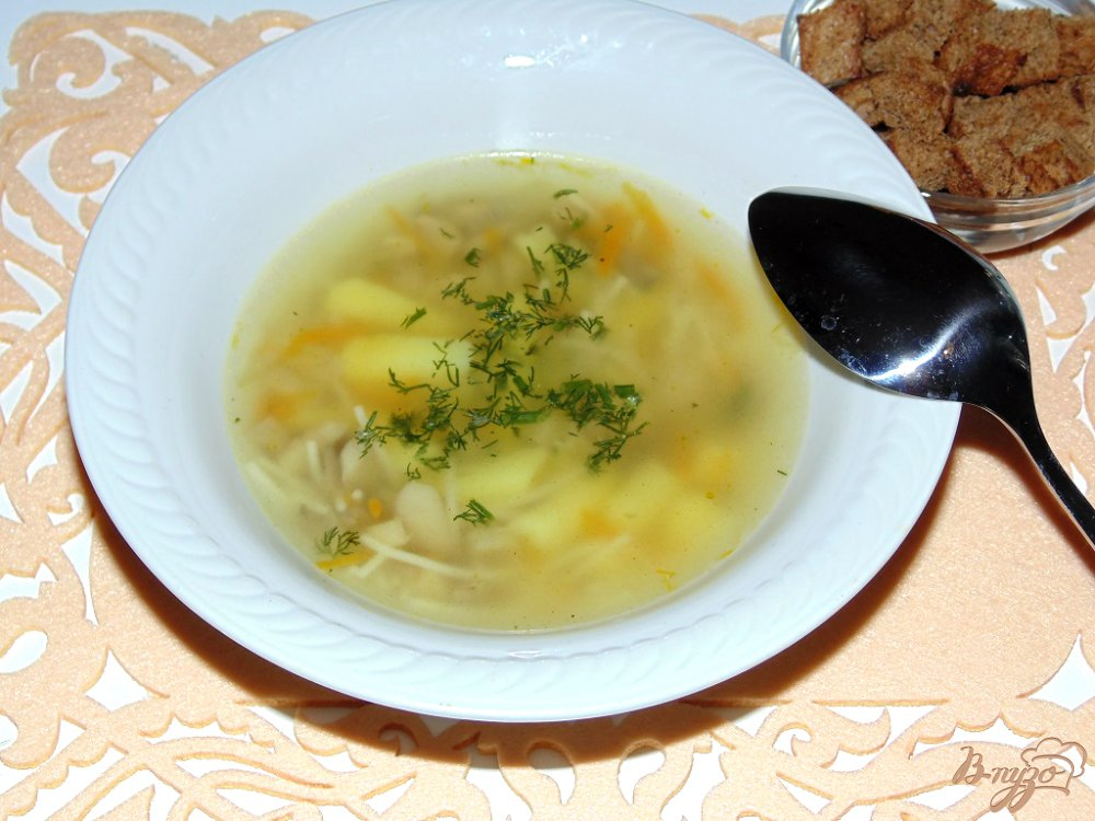 Грибной суп с вермишелью с фото
