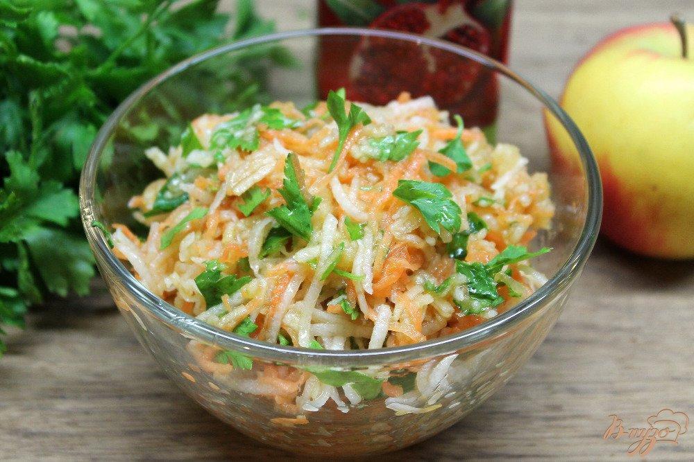 Фото и рецепт салата из дайкона и моркови