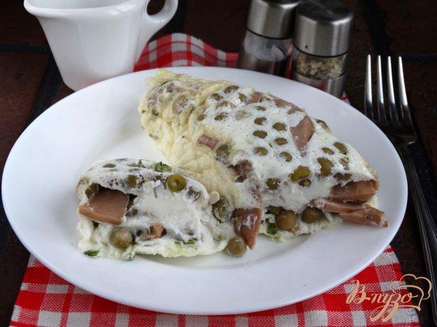 фото рецепта: Белковый омлет с горошком и грибами в пакете