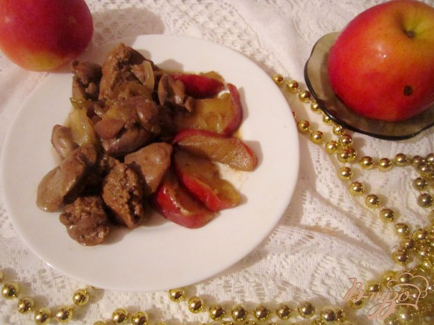 Печень с яблоками рецепт с фото