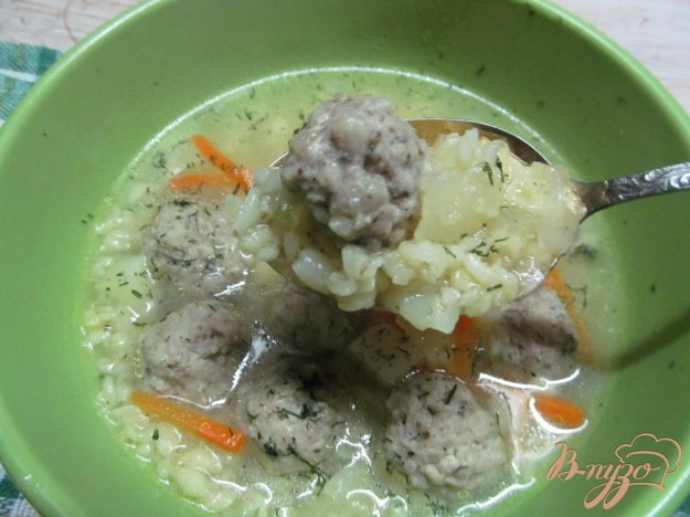 фото рецепта: Суп с фрикадельками и булгуром