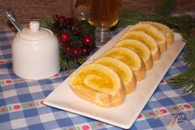 фото рецепта: Апельсиновый рулет к чаю