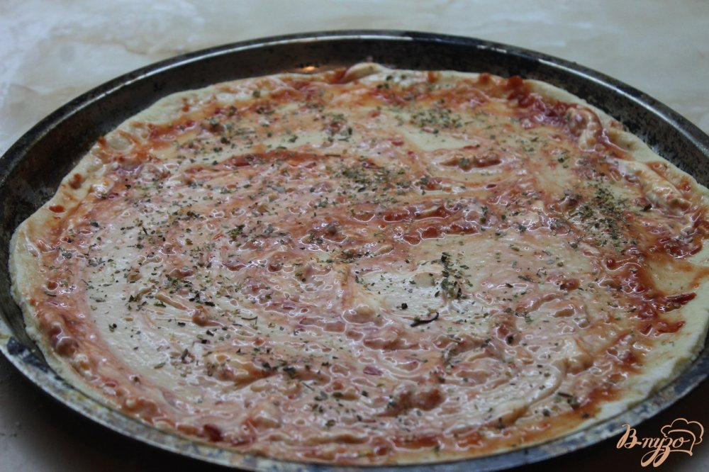 Пицца с вареной колбасой и грибами рецепт