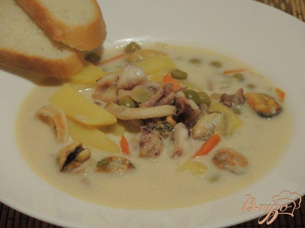 фото рецепта: Сырный суп с морепродуктами
