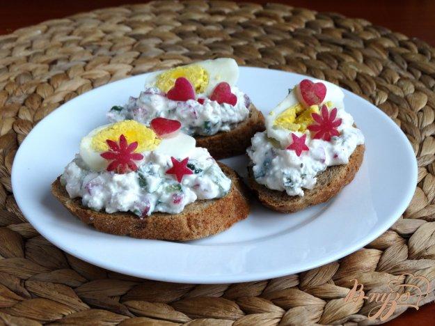 фото рецепта: Творожно-овощной салат с яйцом на луковых тостах