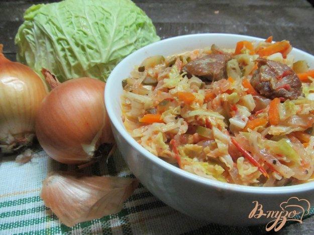 Рецепт тушеного мяса с капустой и овощами