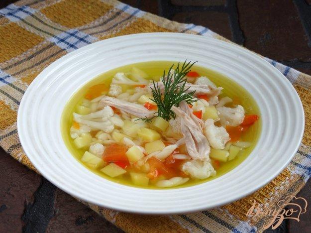 фото рецепта: Куриный суп с овощами и пастой орзо