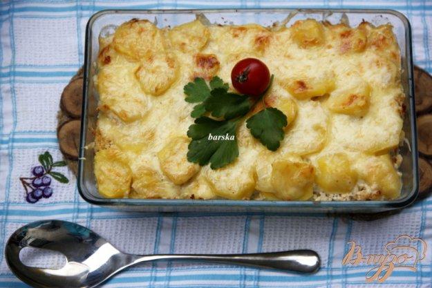 фото рецепта: Гратин из картофеля и отварного куриного мяса