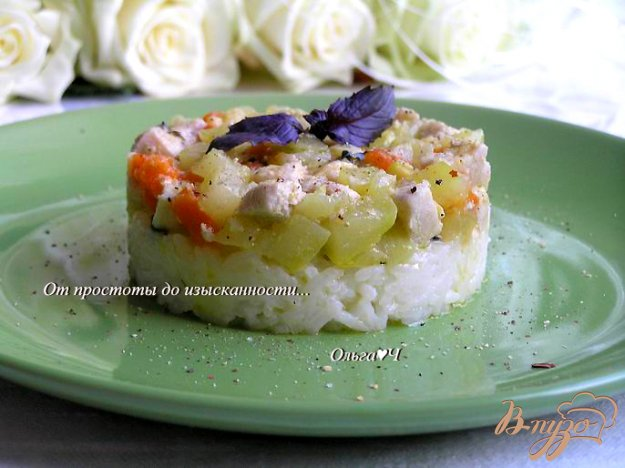 фото рецепта: Рагу из курицы с овощами и рисом