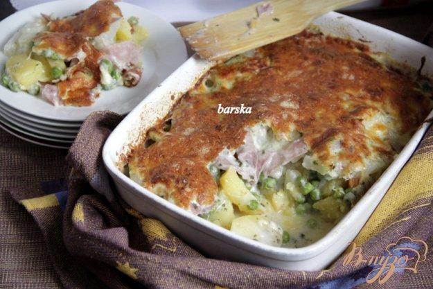 фото рецепта: Гратин из картофеля и замороженых овощей, с ветчиной