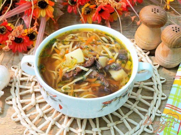 фото рецепта: Суп из сушёных грибов с домашней лапшой