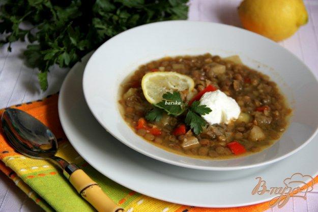 фото рецепта: Суп с чечевицей и с печеными овощами