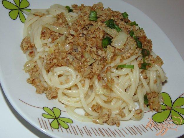 фото рецепта: Паста спагетти со свино-говяжьим фаршем
