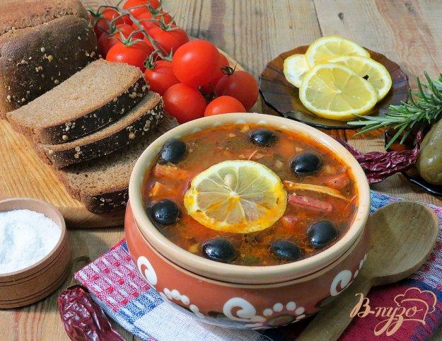 фото рецепта: Солянка с куриным мясом и копчёной колбасой