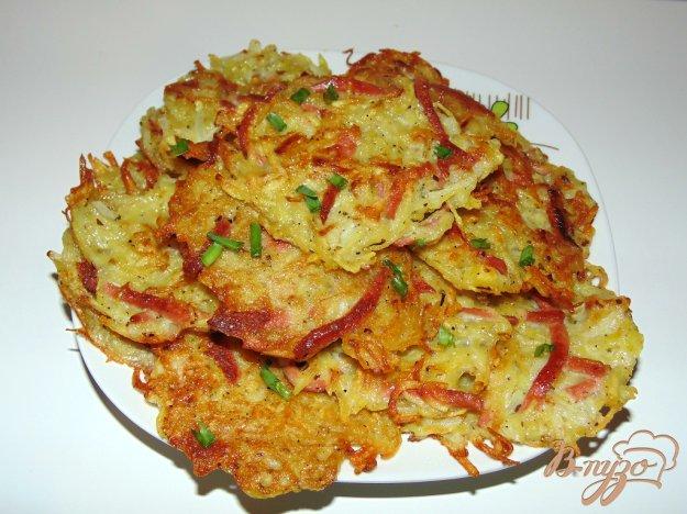 картофельные драники с сосиской