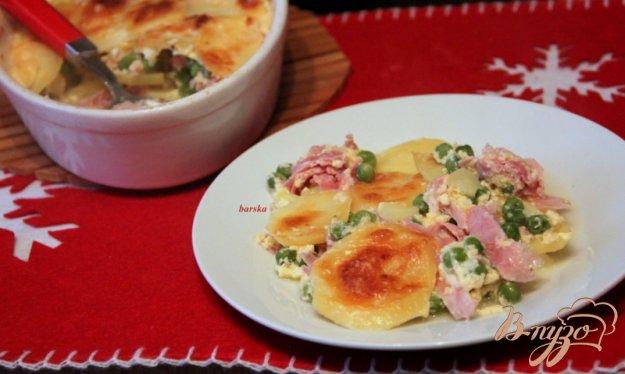 фото рецепта: Запеканка из картофеля, зеленого горошка и ветчины