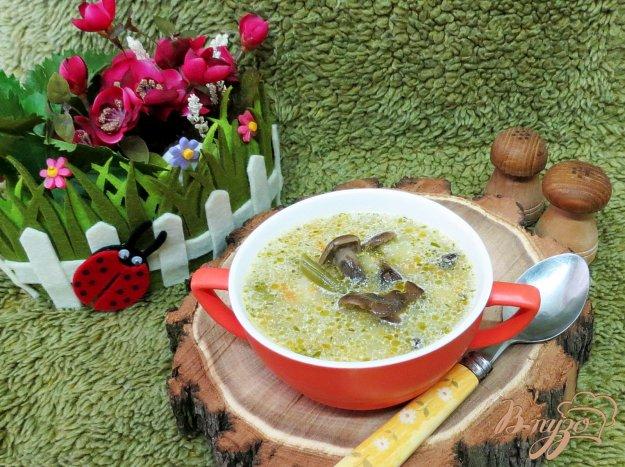 фото рецепта: Суп с опятами, шпинатом  и спаржевой фасолью