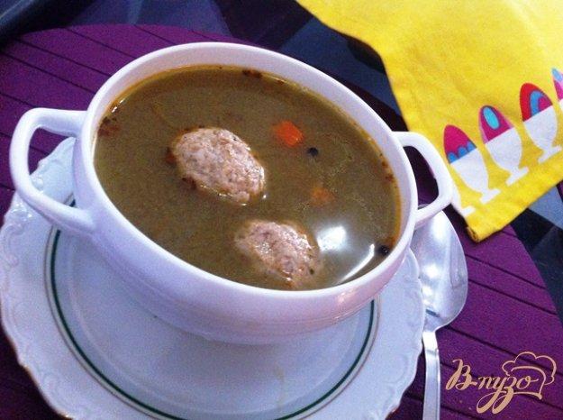 фото рецепта: Суп с фрикадельками,шпинатом и макаронами
