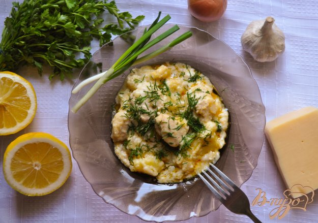 фото рецепта: Картофель с курицей и сулугуни в казане