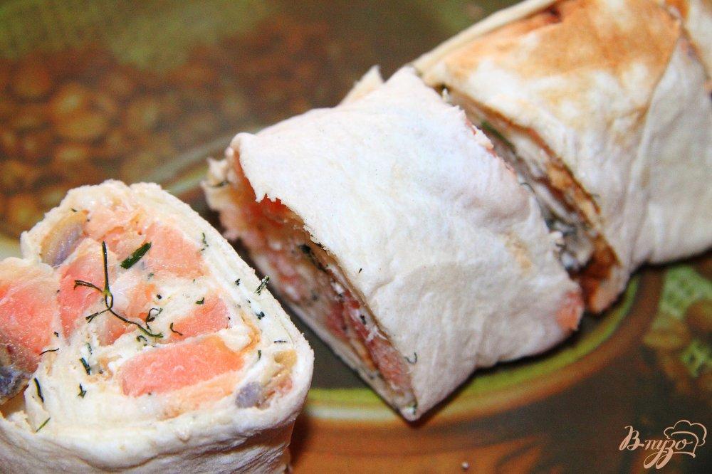 Лаваш с лососем и сыром рецепт