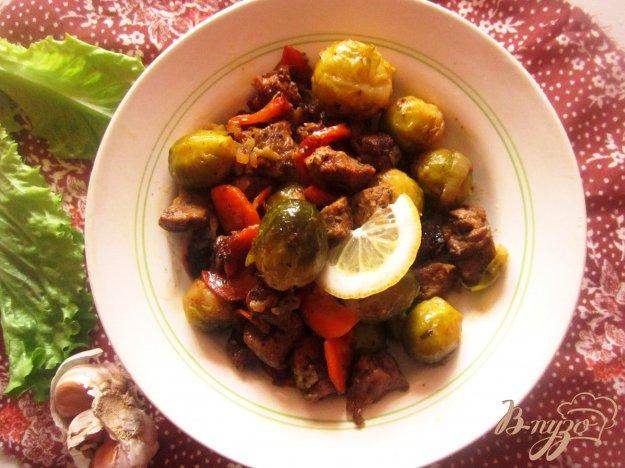 фото рецепта: Говядина с брюссельской капустой в мультиварке