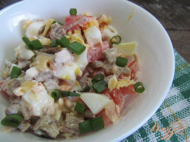фото рецепта: Салат из отварной говядины с помидором
