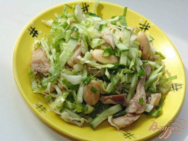фото рецепта: Салат из молодой капусты с мясом курицы и фасолью