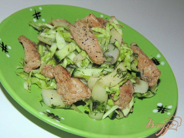 Салат из соевого мяса и стручковой фасоли