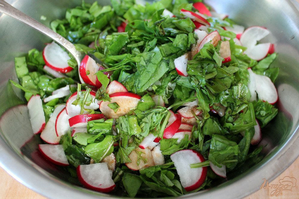 салат с капустой и редисом