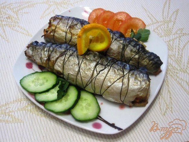 фото рецепта: Скумбрия, фаршированная овощами