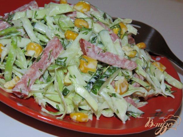 фото рецепта: Салат с копченой колбасой, капустой и свежим огурцом