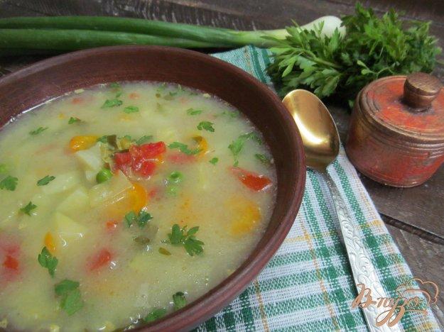 фото рецепта: Суп из молодых овощей на курином бульоне с карри