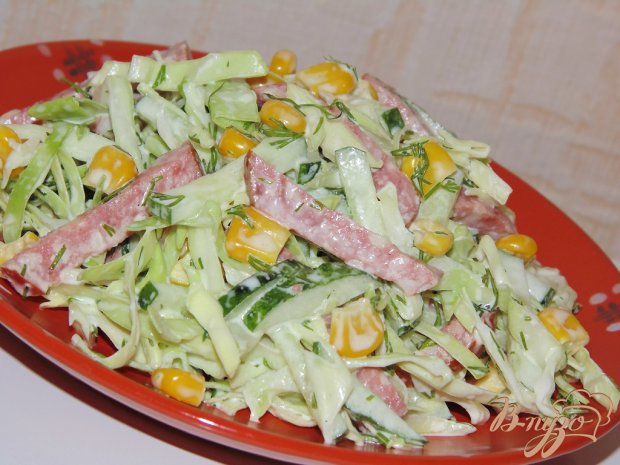 Салат колбаса фасоль огурец