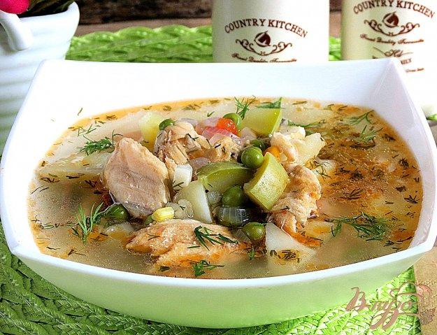 фото рецепта: Суп из сёмги, зубатки, пшена и овощей.