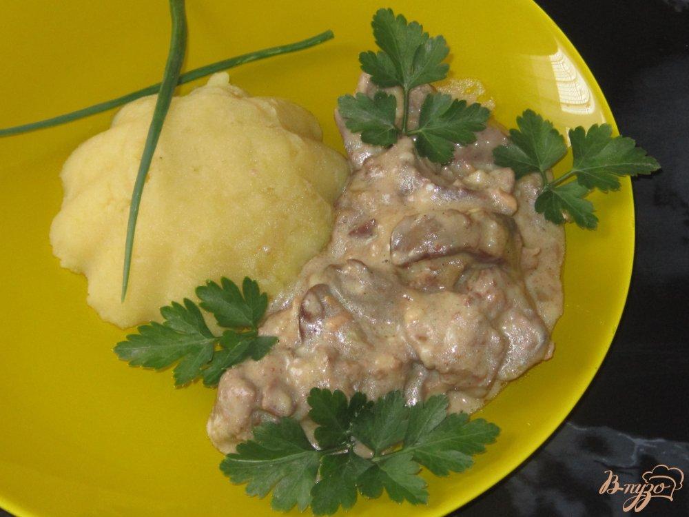 Куриная печень в сметане пошагово с фото