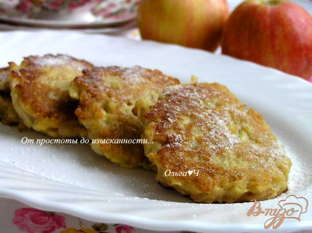 фото рецепта: Яблочные оладьи с корицей