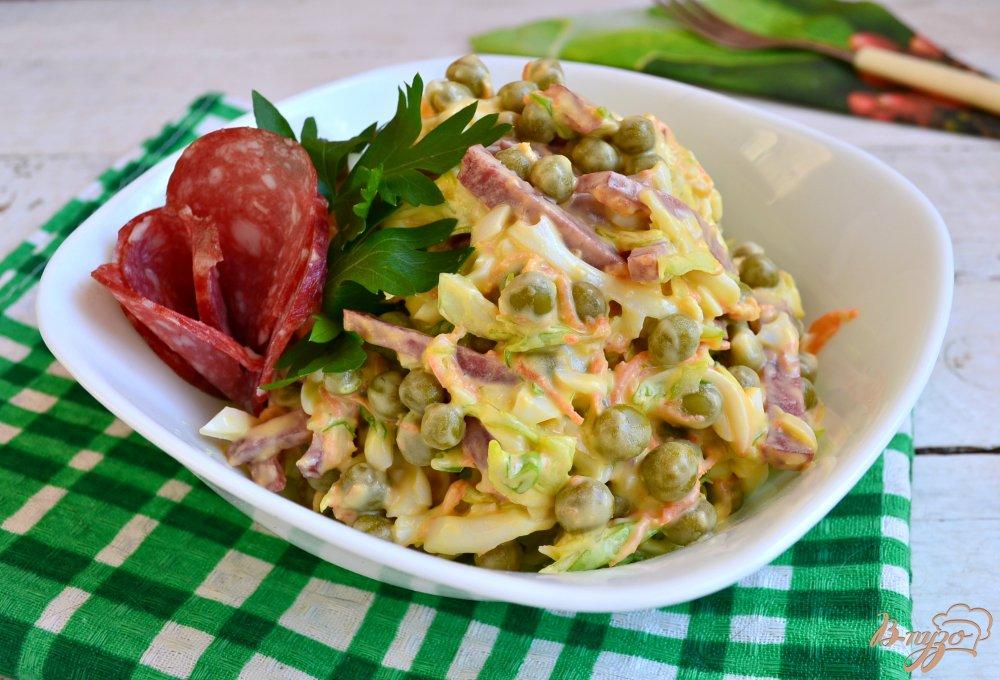 Рецепт салат с консервированным горошком рецепт пошагово