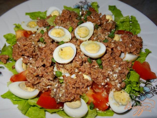 фото рецепта: Салат с тунцом и перепелиными яйцами