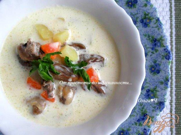 фото рецепта: Сливочный суп с куриными сердечками