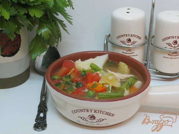 фото рецепта: Суп из цветной капусты и помидоров (без зажарки)