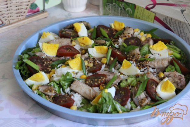 фото рецепта: Салат с сардинами и рисом